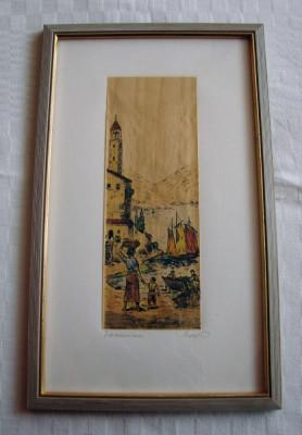 Superba grafica pe papirus, semnata foto