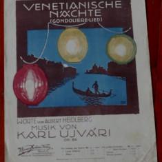 Partitura - interbelica ---- Venetianische Nachte - 4 pagini
