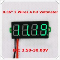 Voltmetru digital cu leduri verzi, 3.5 - 30 V, foarte precis, 4 digit, cu 2 fire