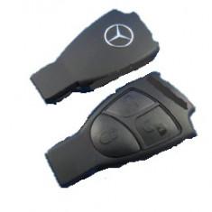 Carcasa cheie Mercedes SmartKey 3 butoane sigla METALICA