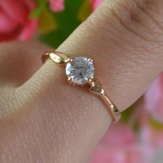 LIVRARE GRATIS Inel placat filat aur roz 14k gold filled piatra zirconiu - Inel placate cu aur pandora