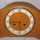 Ceas vechi mecanic de semineu/ camin din lemn si mecanism alama cu 2 gauri DUGENA - Ceas de semineu