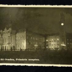 Vedere Oradea - Primaria noaptea-Interbelica-Tiparit oblic pe verso - Carte Postala Crisana dupa 1918, Necirculata