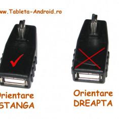 Adaptor OTG, cu unghi de 90 de grade, mini usb cu orientare spre stanga - Adaptor Tableta