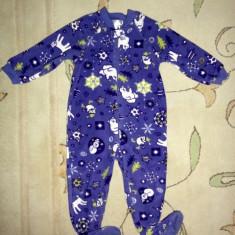 Pijama polar cu urs polar, marca Childrens Place, unisex 24 luni, Culoare: Mov
