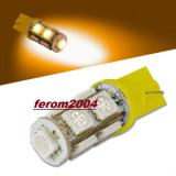 Led bec T10 W5W pozitie 9 smd 5050 de culoare galbena - Led auto