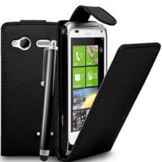 Toc piele Husa flip neagra flip HTC Radar + expediere gratuita - Husa Telefon HTC, Negru, Piele Ecologica