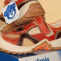 """Pantofi copii """"Melania"""", primavara-vara, din piele naturala., Baieti, 29, 30, Orange"""