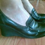 Pantofi din piele cu platforma marimea 38, arata impecabil! - Pantof dama, Culoare: Negru, Negru