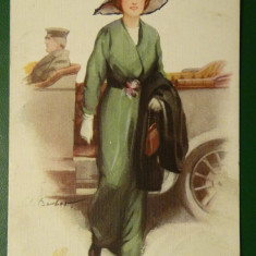 Visiting-Vedere deosebita-doamna eleganta - circulata 1915 - stampila speciala