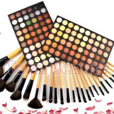 Trusa machiaj 120 culori Neutral Nude Fraulein Germania + Set 24 pensule - Trusa make up