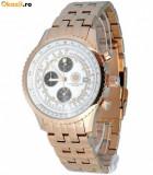 Ceas de LUX  cu 8 diamante - Chronograph CONSTANTIN DURMONT  placat cu AUR , mecanism japonez