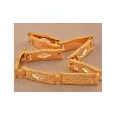 BRATARA UNISEX AUR FILAT 14 K FRUNZE SI ROMB (16) - Bratara placate cu aur