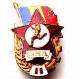ROMANIA INSIGNA GMA II GATA PT MUNCA SI APARARE, SERIE, STEA ROSIE 22 x 34 mm **, Romania de la 1950
