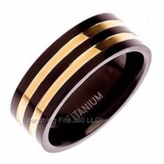 Inel verigheta Titanium, elegant, barbati, culoare negru si suflat cu aur 18k, marime 63, 46 ROMANIA, diametru 20, 2 mm - consultati tabelul poza 2