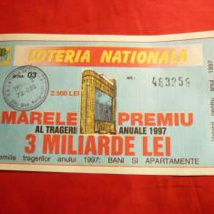 Bilet Loterie Loteria Nationala 1997 - Bilet Loterie Numismatica
