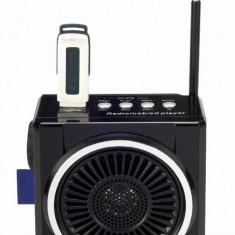 SISTEM KARAOKE COMPUS DIN BOXA ACTIVA, ACUMULATOR INCLUS, MP3 PLAYER STICK SI CARD, LANTERNA CU LEDURI SI MICROFON INCLUS. - Echipament karaoke
