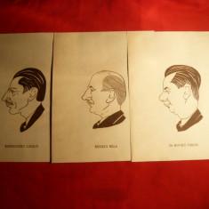 3 Gravuri pe lemn vechi - Caricaturi - Personalitati Maghiare - Pictor strain, Portrete, Carbune, Altul