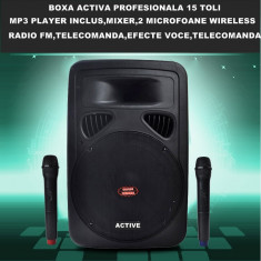 MEGA BOXA AMPLIFICATA/ACTIVA, BASS 15 TOLI, MIXER INCLUS, AFISAJ LCD, RADIO FM, MP3 PLAYER, ACUMULATOR+2 MICROFOANE WIRELESS+TELECOMANDA FULL CONTROL. - Echipament karaoke