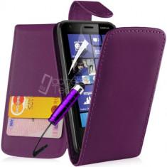 Toc piele mov husa flip Nokia Lumia 620 + folie protectie ecran + expediere gratuita