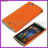 Husa mesh Sony Ericsson Arc LT15i Lt18i X12 si folie ecran, Universala, Portocaliu, Plastic