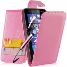 Toc piele roz husa flip Nokia Lumia 620 + folie protectie ecran + expediere gratuita
