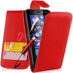 Toc piele rosie husa flip Nokia Lumia 620 + folie protectie ecran