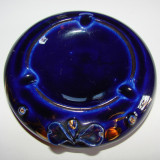 Scrumiera din ceramica cu email de cobalt - Arta Ceramica
