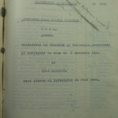 TEZA DE DOCTORAT DR. IOAN MOLNAR PIUARIU - SUSTINUTA IN 1940 DE DR. IOAN BASARAB SPITALUL DEVA LA FAC. MED. A UNIV. DIN CLUJ AFLATA IN EXIL LA SIBIU - Diploma/Certificat