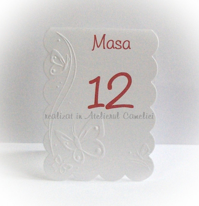 Set 10 numere masa pentru botez/ nunta (fluturi embosati)