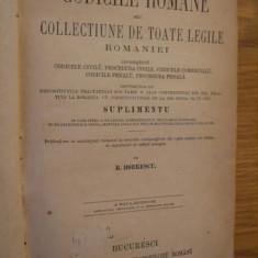 CODICILE ROMANE * Coprindendu: CODICELE CIVILU * PROCEDURA CIVILE* CODICELE COMERCIALE * CODICILE PENALU * PROCEDURA PENALA -- B. Boerescu -- 1873 - Carte Teoria dreptului