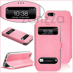 Husa iPhone 5 5S piele eco roz - Husa Telefon Apple, iPhone 5/5S/SE, Piele Ecologica, Cu clapeta