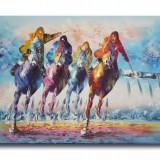 Cursa hipica 2 (tablou 90x60cm) LIVRARE GRATUITA 24-48h - Pictor roman, An: 2011, Scene gen, Ulei, Altul