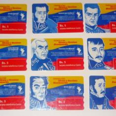 Set / Lot 9 cartele telefonice - BICENTENARUL INDEPENDENTEI - VENEZUELA - 2+1 gratis toate produsele la pret fix - CHA967 - Cartela telefonica straina
