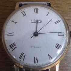 Ceas placat cu aur / Cornavin 23jewels / mecanic / super-plat