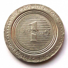 JETON TRUMP PLAZA HOTEL AND CASINO ATLANTIC CITY 1 ONE $ DOLLAR TOKEN, 37 mm ** - Jetoane numismatica