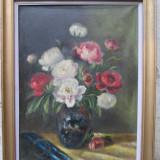 Vaza cu bujori, flori 74 x 94 cm, ulei pe panza - Pictor roman