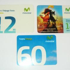 Set / Lot 3 minicartele telefonice - MOTANUL INCALTAT - VENEZUELA - CARTELA  -  2+1 gratis toate produsele la pret fix - CHA965