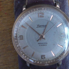 Ceas barbatesc- HERMA- aur/suflat mecanic -17rubine
