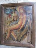 Cumpara ieftin Nud sezand - pictura veche pe carton, Ulei, Avangardism