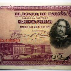 48. SPANIA VELAZQUEZ 50 PESETAS 1928 VF/AUNC SR. 960
