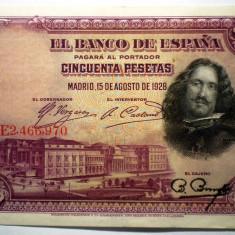 51. SPANIA VELAZQUEZ 50 PESETAS 1928 VF/AUNC SR. 970