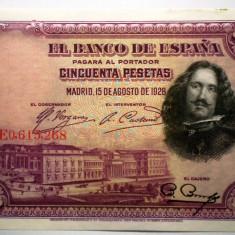 47. SPANIA VELAZQUEZ 2X50 PESETAS 1928 SERII CONSECUTIVE VF/AUNC SR. 268-269