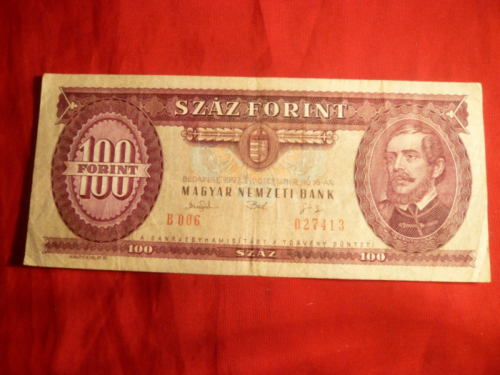 Bancnota 100 Forinti 1993 Ungaria , cal.Buna