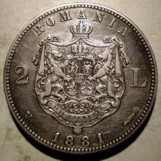 R.098 ROMANIA CAROL I 2 LEI 1881 ARGINT 9, 93g - Moneda Romania