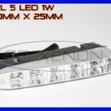 DRL 5-LED 1W - 160mm x 25mm - DAYTIME RUNNING LIGHT - LUMINI DE ZI