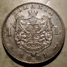 R.058 ROMANIA CAROL I 1 LEU 1881 ARGINT 4, 99g - Moneda Romania
