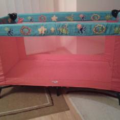 Pat tarc pentru copii folosit de 3 ori - Patut pliant bebelusi Primii Pasi, 140x70cm, Multicolor