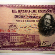 46. SPANIA VELAZQUEZ 2X50 PESETAS 1928 SERII CONSECUTIVE VF/AUNC SR. 266-267