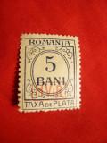 Timbru 5 Bani Taxe ,supratipar MViR ,hartie verde ,filigram momograma